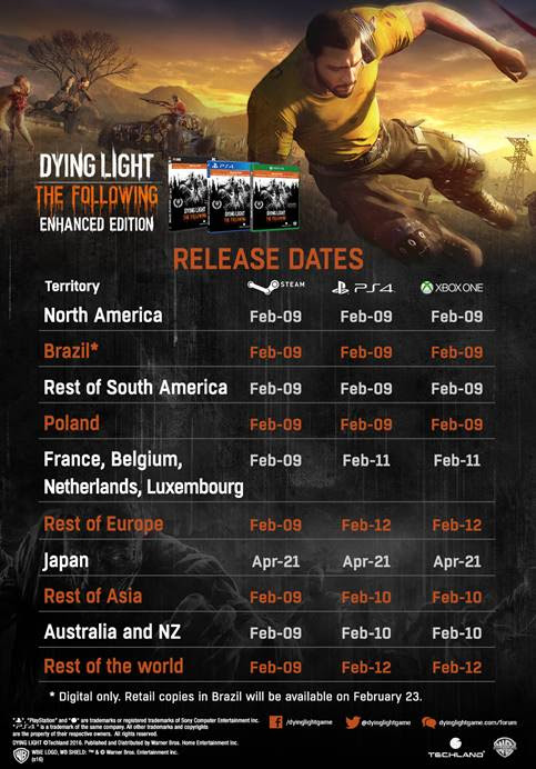 Dying Light: The Following – Enhanced Edition Global Release Dates Announced