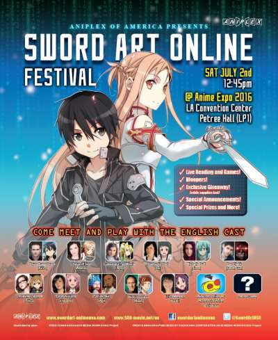 Aniplex of America to Host Sword Art Online Festival at Anime Expo 2016