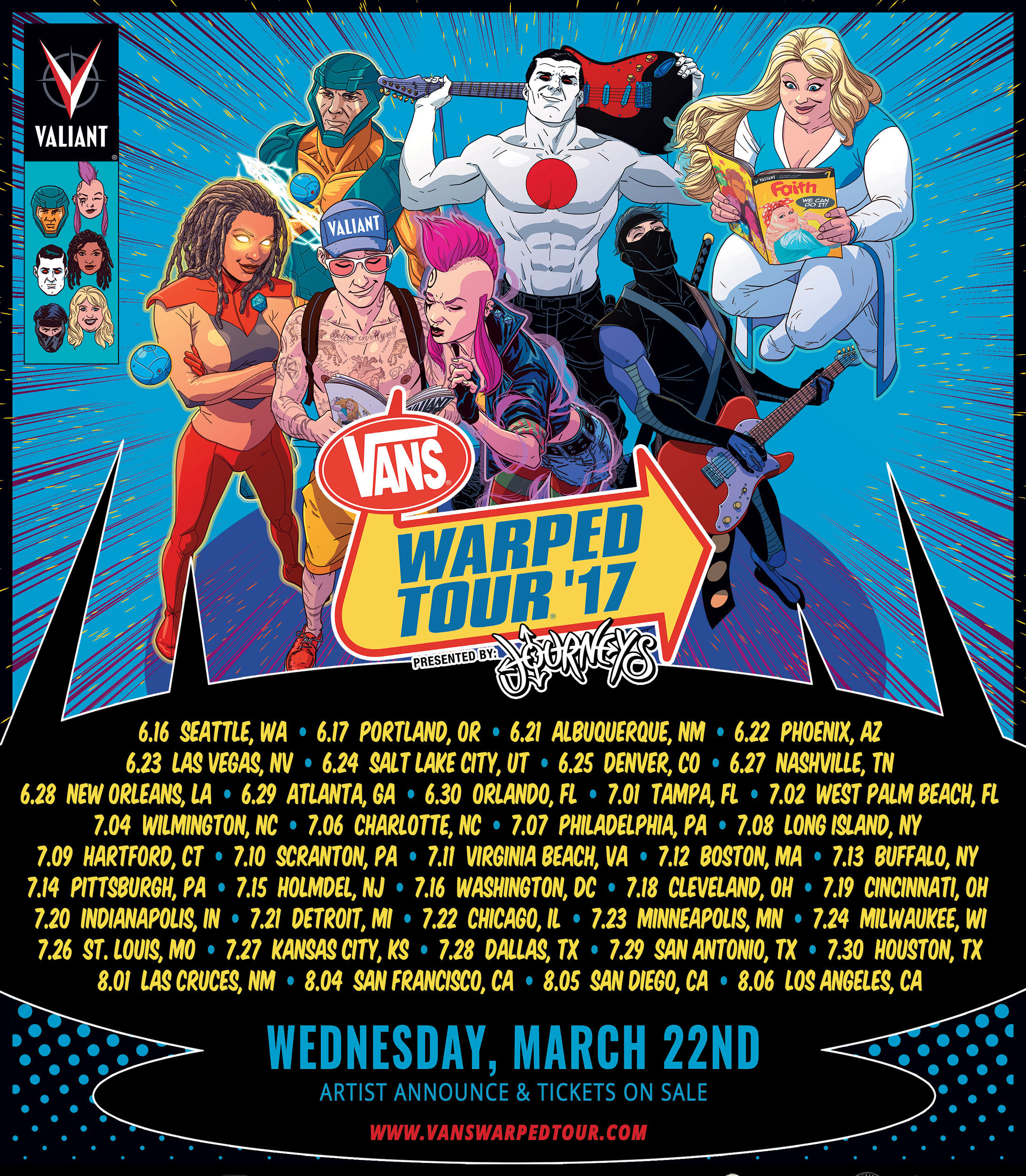 The Vans Warped Tour Presented by Journeys and Valiant Entertainment Team Up for 2017 Artwork and Branding