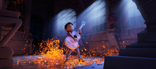 """Progression Image 3 of 3: Final Frame..ASPIRING MUSICIAN — In Disney•Pixar's """"Coco,"""" Miguel (voice of newcomer Anthony Gonzalez) dreams of becoming an accomplished musician like the celebrated Ernesto de la Cruz (voice of Benjamin Bratt). But when he strums his idol's guitar, he sets off a mysterious chain of events. Directed by Lee Unkrich, co-directed by Adrian Molina and produced by Darla K. Anderson, """"Coco"""" opens in theaters Nov. 22, 2017."""