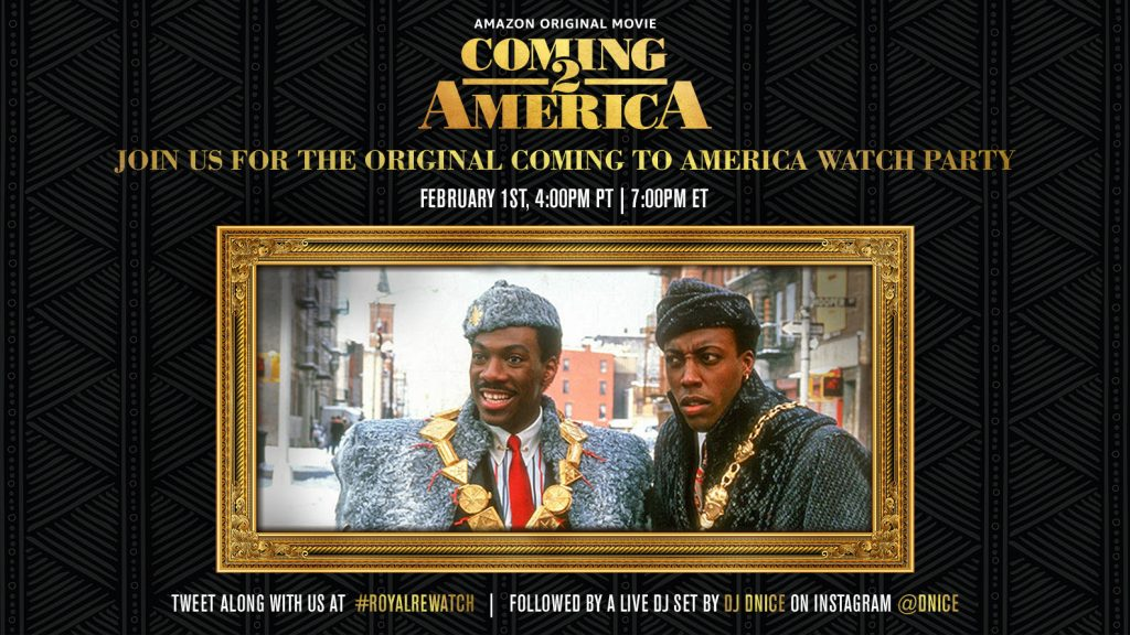 Join us for a #RoyalRewatch of the original COMING TO AMERICA! Just in time for COMING 2 AMERICA