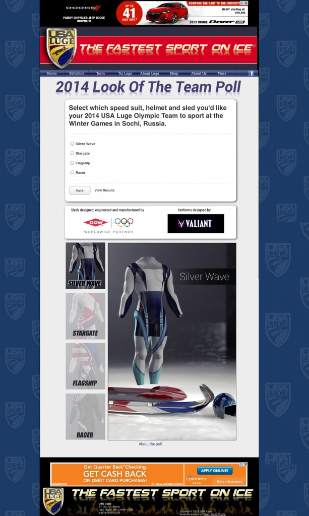 Help VALIANT and DOW Select the New Look of USA LUGE!