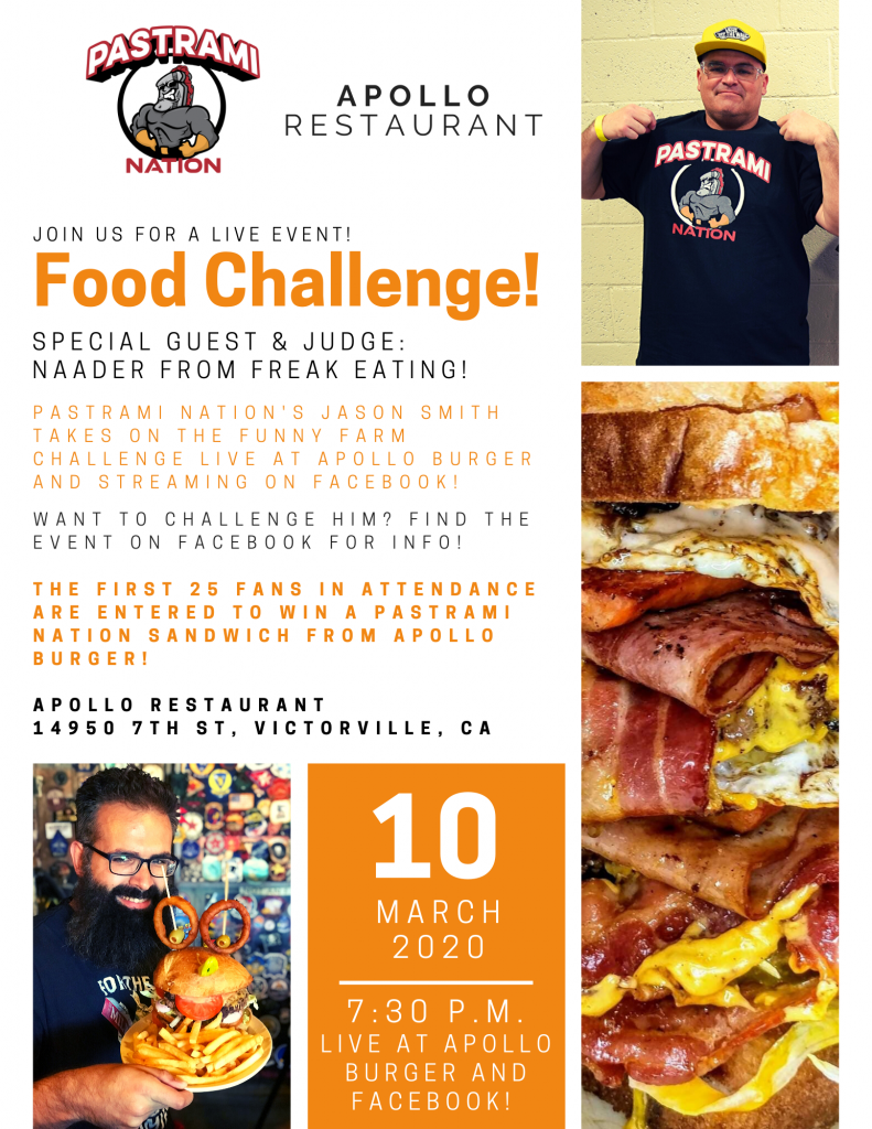 Pastrami Nation and Apollo Restaurant Present a LIVE Food Challenge on March 10th in Victorville