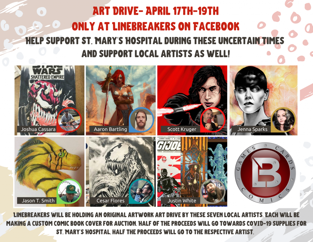 Linebreakers Assembles Local High Desert Artists for Art Drive to Help St. Mary's Hospital with COVID-19 Supplies