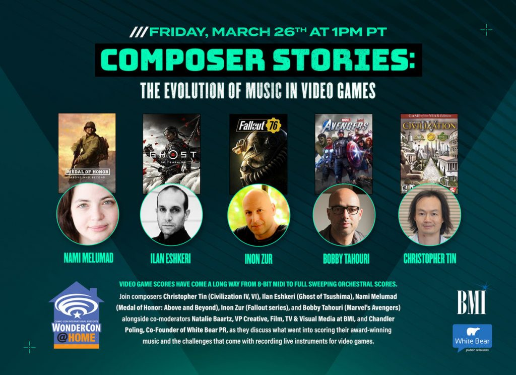 """BMI & White Bear PR Present """"Composer Stories: The Evolution of Music in Video Games"""" at WonderCon 2021"""